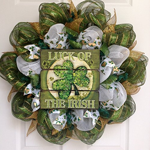 Luck Of The Irish Three Leaf Clover Deco Mesh St Patrick Day Wreath
