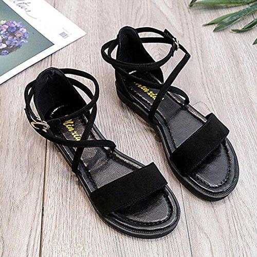 ... Transer® Damen Flach Ankle-strap Sandalen Leder+Gummi Schwarz  Kreuzgürtel Sandalen 3d8cd40983