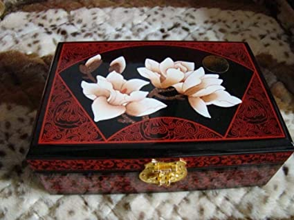 irugh 1 Joyero Caja Madera Pintada a Mano de joyería Caja Almacenamiento Chino de Laca