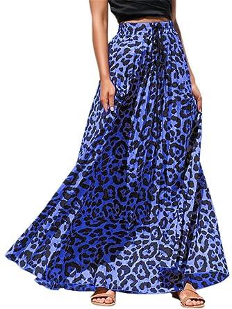 473733fd0cf11d Pengfei Womens Leopard Print Long Skirts Drawstring High Waisted Beach Boho  Maxi Skirt Blue