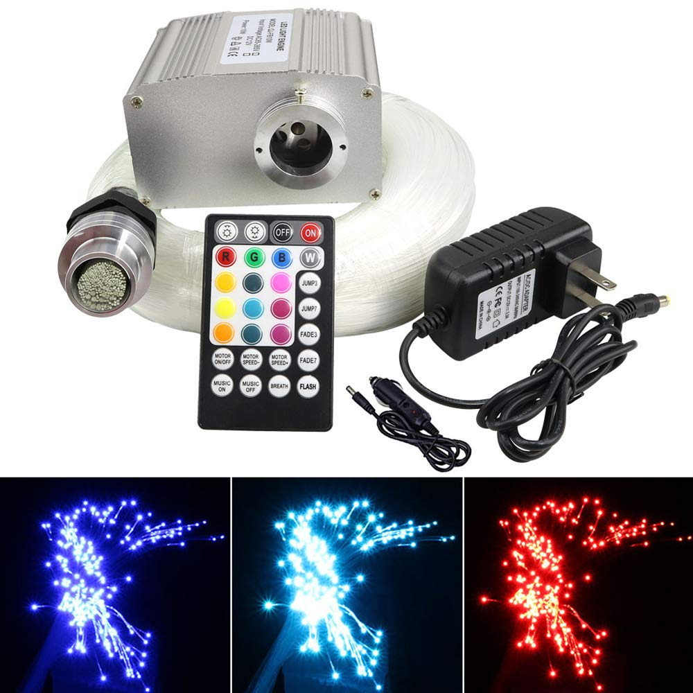 AZIMOM 10W Twinkle RGBW LED Fiber Optic Star Ceiling Light Kit + Music Control RF 28 Key Remote, 250pcs 9.8ft 0.75mm Optic Fiber Lighting for Car & Interior Decoration