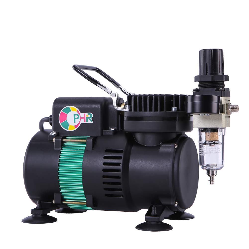 OPHIR Single Air Compressor with Good Quality Filter, Holders, Air Hose & Two Fans Can Be Used with 0.2mm-0.8mm Airbrush Guns for Model Hobby Painting Body Art Cake by OPHIR