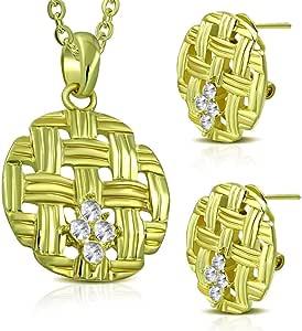 طقم مجوهرات من قلادة وأقراط بشكل دائري ملصع بكريستالات لامعه