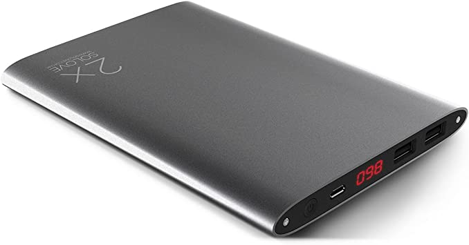 SOLOVE Titan 20000mAh Ultra Slim Power Bank Dual USB Portable Charger External Battery Pack for iPhone, iPad, Galaxy, Nexus, Gopro and Android Smart Devices (Gray), [Importado de UK]: Amazon.es: Electrónica