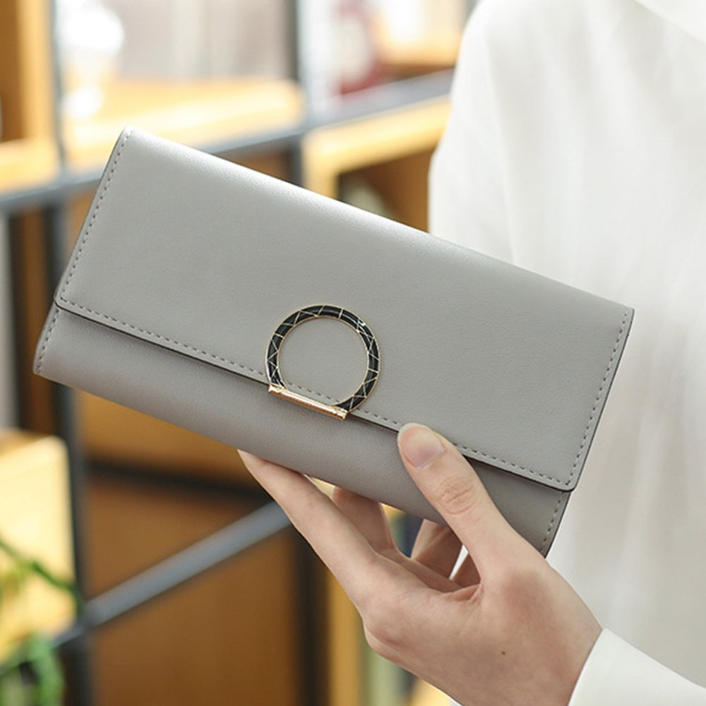 IFUNLE Womens PU Leather Long Wallet Large Capacity Trifold Clutch Circle Decorate Card Holder Buckle Ladies Purse (Grey)
