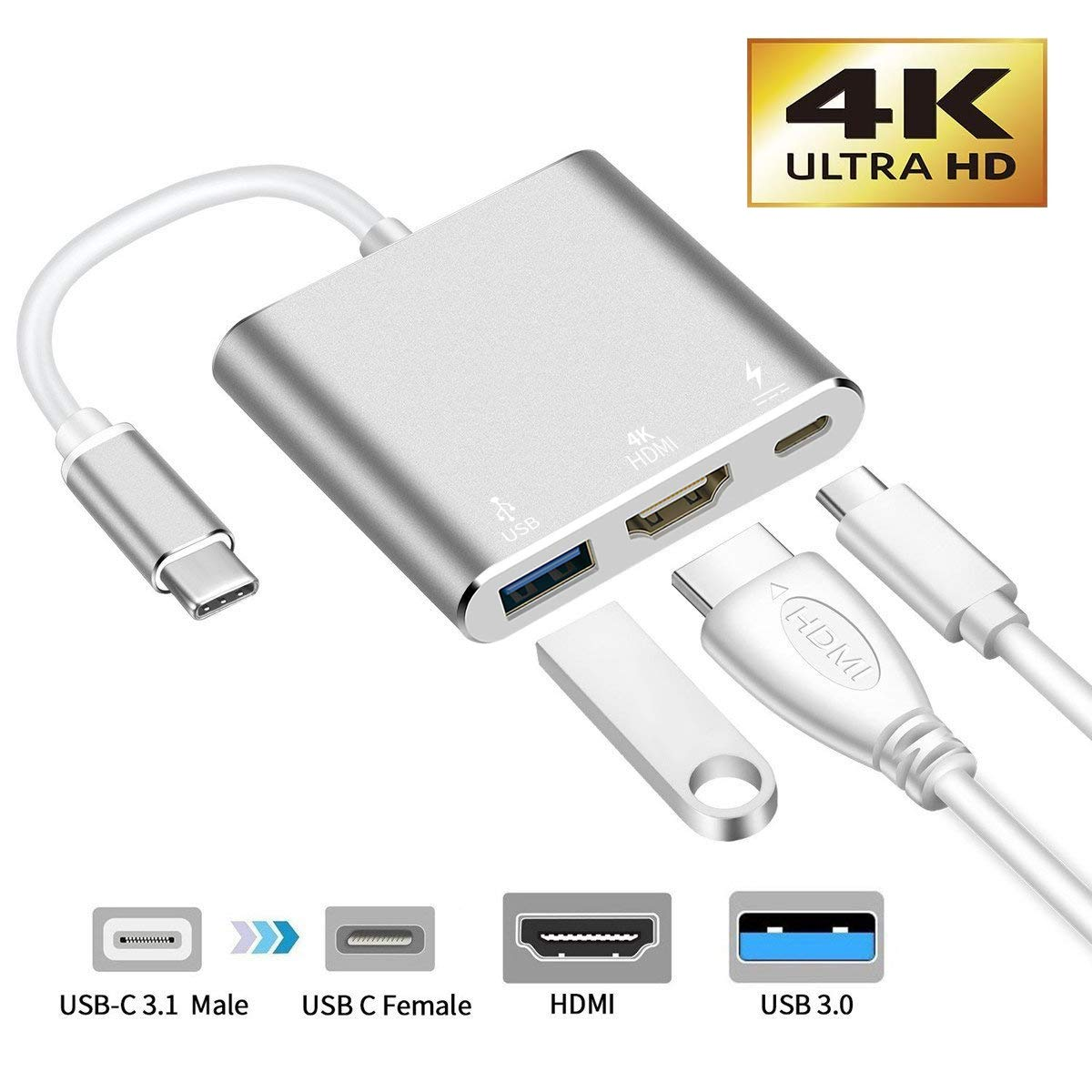 USB-C to HDMI Adapter,321OU USB 3.1 Type C to HDMI 4K Multiport AV Converter with USB 3.0 Port and USB C Charging Port compatible MacBook/Chromebook Pixel/Dell XPS13/Samsung Galaxy s8/s8 Plus (Silver) by 321OU