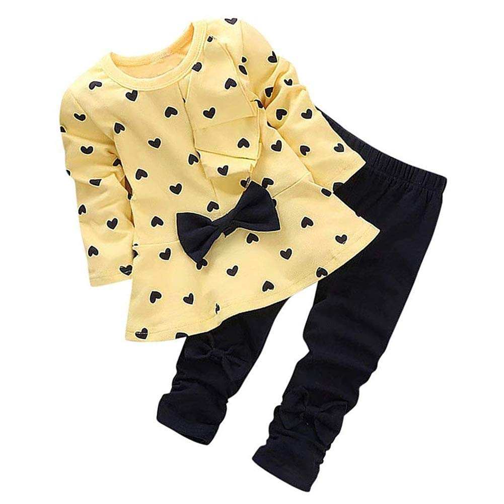 0-3 Years Kids Baby Girls Clothes Cute Heart-Shaped Print Bow Tops T Shirt + Pants Leggings 2Pcs Outfits Sets (Yellow, 0-6 Months)