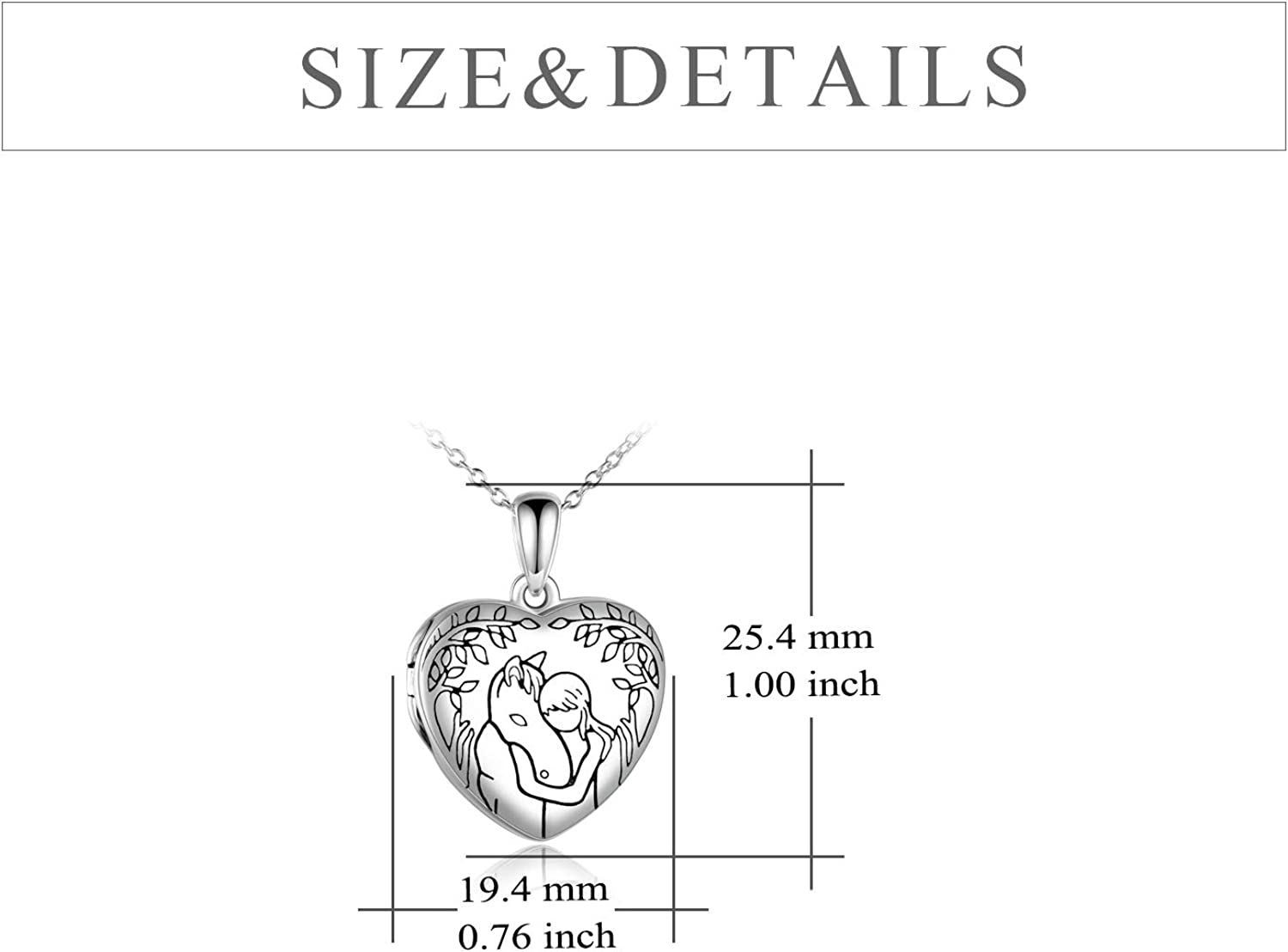 YFN Horse Boys Girls Pendant Necklace Gifts Locket Necklace that holds pictures for Family Girlfriend Friends