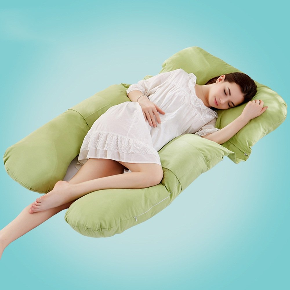 Pregnant women pillow / multi-functional pregnant women pillow / u pillow / pregnant women pillow / side sleep pillow ( Color : Green )