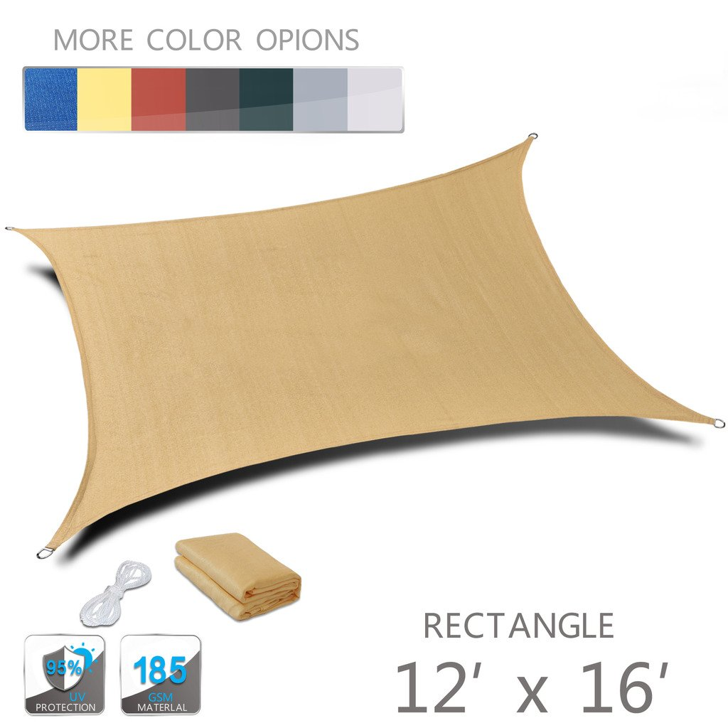 Love Story 12' x 16' Rectangle Sand UV Block Sun Shade Sail Perfect for Outdoor Patio Garden