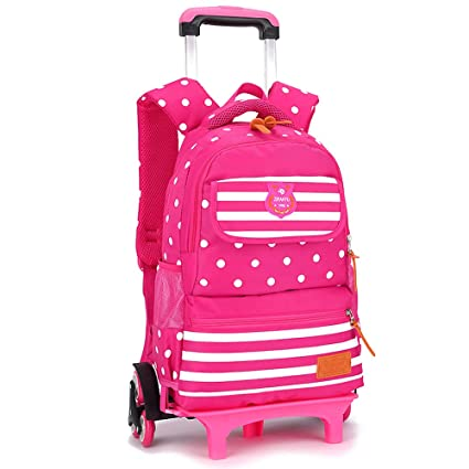 Amazon.com | KINDOYO Backpack Trolley-School Bag Childrens Rolling Backpack, rose Red, 6 Wheels | Backpacks