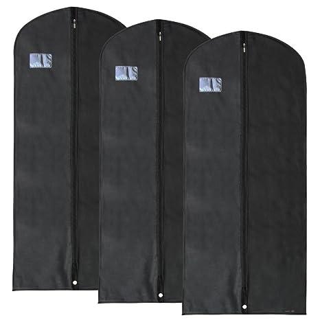 Hangerworld 3 Porta Traje 137cm Funda Transpirable Anti-Polilla Anti-Polvo Negro con Cremallera