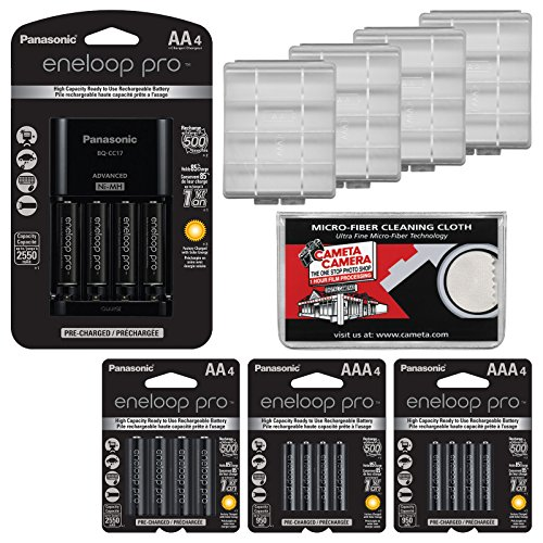 Panasonic eneloop Pro (4) AA 2550mAh Pre-Charged NiMH Rechargeable Batteries & Charger + (4) Extra AA Batteries + (8) AAA Batteries + (4) Battery Cases + Kit ()