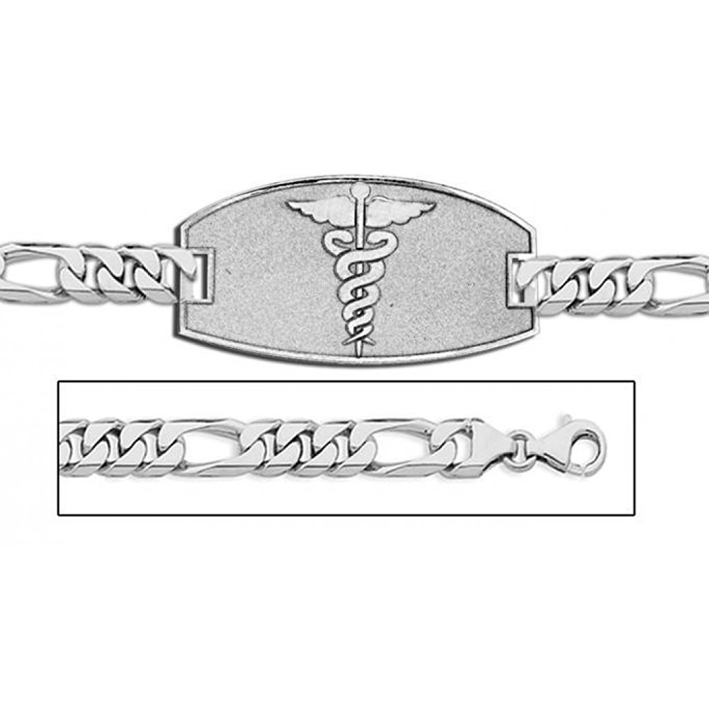 Sterling Silver Medical ID Bracelet W/ Figaro Chain - 8-1/2 w / engraving