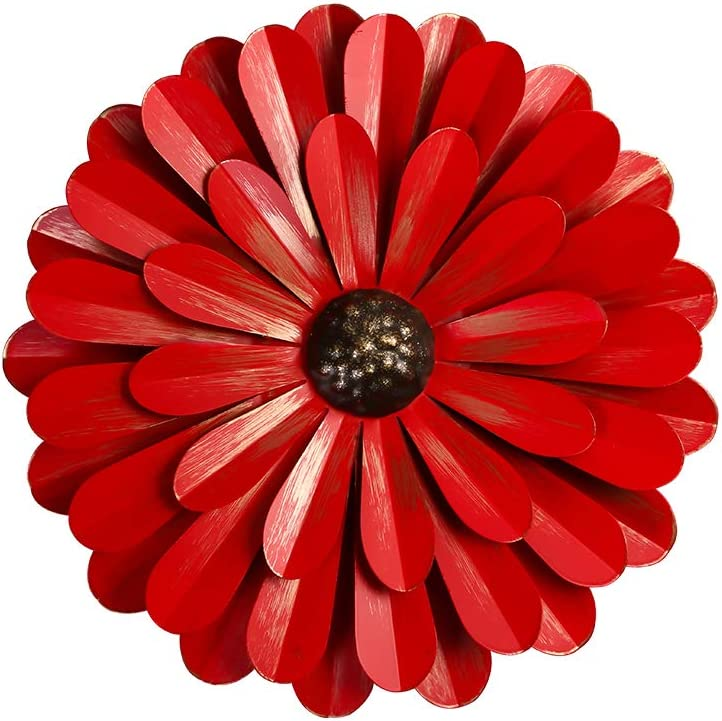 "Large Red Metal Flower Wall Decor, 12"" Flower Art Wall Hanging for Home Bedroom Garden Indoor Outdoor"
