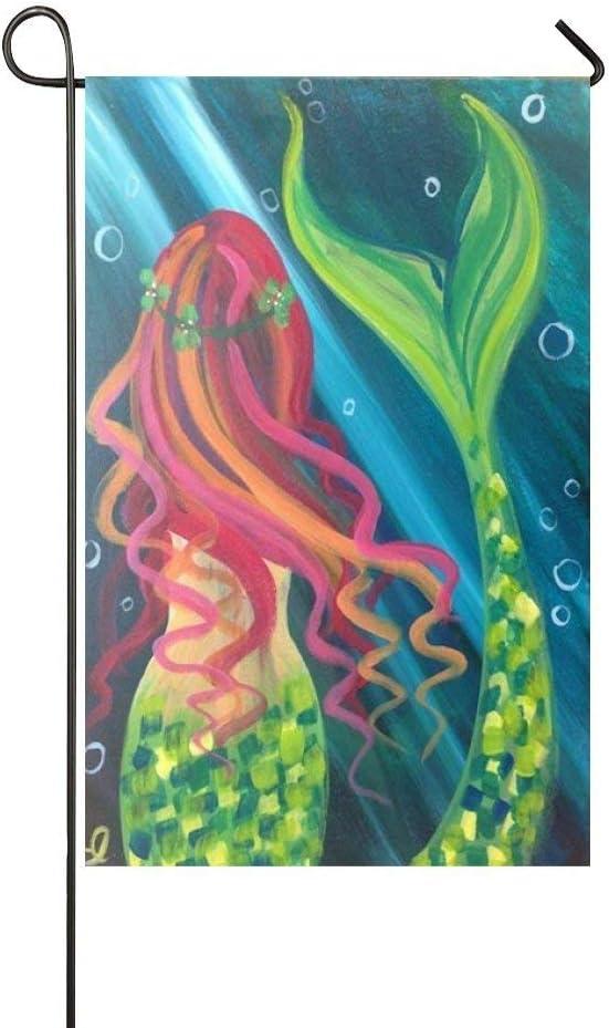 COCOBE Holiday Decor Outdoor House Flag- Green Diamond Tail Beautiful Girl Mermaid 12.5x18 Inch Double Sided Garden Flag