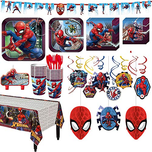 Spider-Man Webbed Wonder Birthday Party Kit, Includes Happy Birthday Banner and Decorations, Serves 16, by Party -