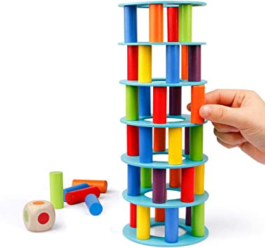 Wooden Blocks Toys for Toddlers 48 Pieces Colored Building Blocks - Premium Quality Set Tower and Dice Game Colored Wooden Blocks Stacking Board Games for Kids Adult and Families