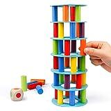 Coogam Houten Scheve Torengame - Tuimelblok Omvallen Hout Stapeltoren Speelgoedgames Montessori-cadeau Voor Kinderen