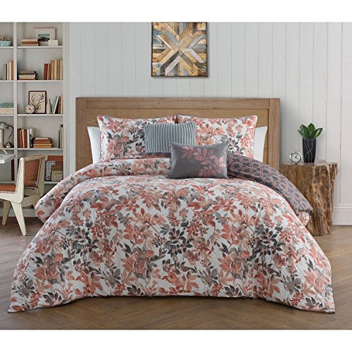 5pc Girls Coral Grey Floral Leaf Theme Comforter King Set, Rose Salmon Pink Gray White, French Country Flowers Leaves Themed Bedding, Chic Stylish Flower Bedding by DOS