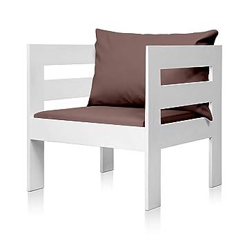 SUENOSZZZ - Sofa Jardin de Madera de Pino Color Blanco, MEDITERRANEO Mod. sillón, Sillon cojín Polipiel Color Chocolate. Muebles Jardin Exterior. ...