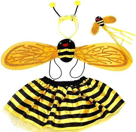 Egosy - Disfraz de abeja para niña de 4 piezas, juego con alas de ...