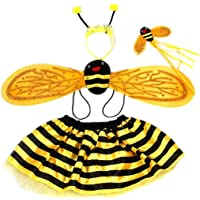 Yeaphy 4Pcs Girls Bumble Bee Costume Set Bee Wing Fairy Wand Tutu Skirt and Headband Dress Up Party Costume