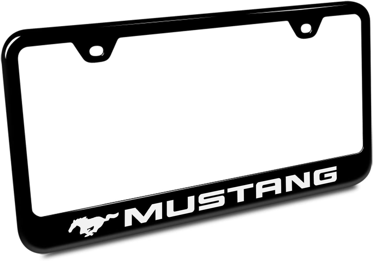 Ford Mustang Black Acrylic License Plate with Chrome Frame Au-Tomotive Gold INC