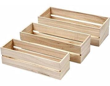 Tres pequeñas cajas nido - cajas de madera para decorar: Amazon.es: Hogar