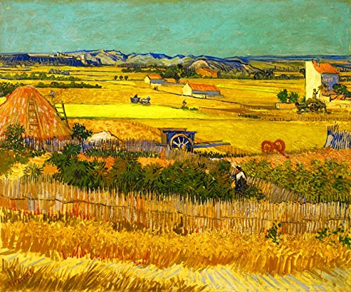 (Wieco Art Harvest at La Crau with Mont majour Canvas Prints Wall Art by Van Gogh Famous Oil Paintings Reproduction Classic Rural Pictures for Home Decorations Modern Abstract Landscape Giclee Artwork)