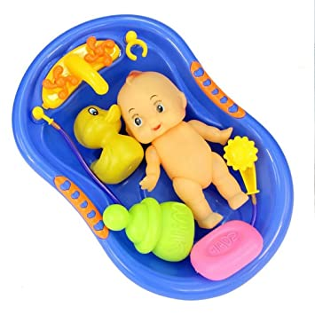 Amazon.com : Plastic Baby Doll Bath Tub With Shower Accessories Set ...