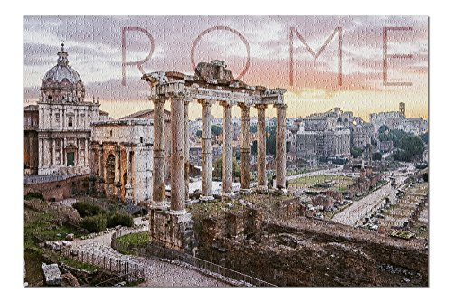 Rome, Italy - Roman Forum and Sunrise (20x30 Premium 1000 Piece Jigsaw Puzzle, Made in ()