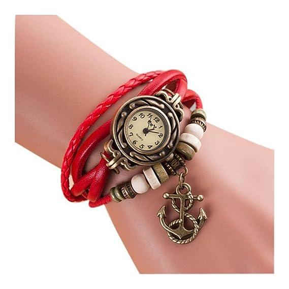 2015 Moda cuarzo Weave Alrededor de cuero Anclas pulsera de mujer muñeca reloj rojo: Amazon.es: Relojes