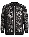 Chicwe Women's Stretch Lace Plus Size Jacket with Trimmed Piping Navy 1X