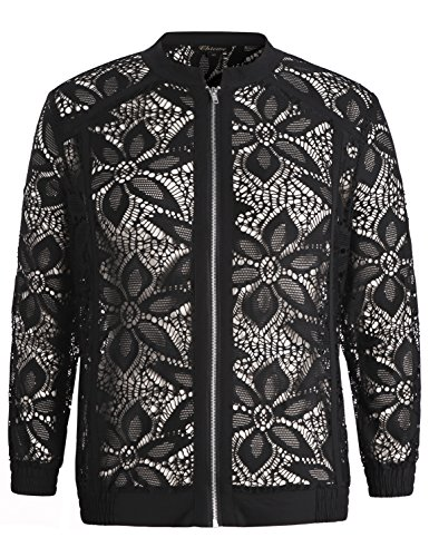 Chicwe Women's Stretch Lace Plus Size Jacket with Trimmed Piping Navy 1X by Chicwe