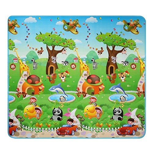 Balanu Baby Play Mat Foam Floor Gym -Non-Toxic Non-Slip 70.2x78 Inches|Reversible Thick,Extra Large Foam Playmat (Dinosaur and car)