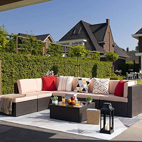 KaiMeng 7 Piece Outdoor Rattan Sectional Sofa Lawn Patio Furniture Set