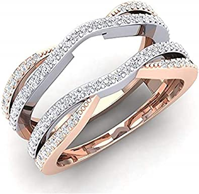 Elegant Touch Womens 0.50 Carat 14K White Gold Plated Round Diamond Ladies Wedding Band Enhancer Guard Ring 925 Sterling Silver
