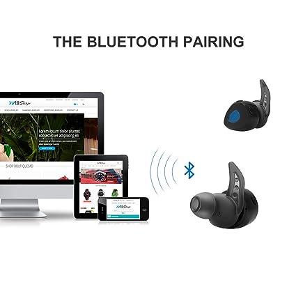 Verdaderos auriculares inalámbricos Wonstart Muti-touch Auriculares Bluetooth V4.2 w / Built-in Mic, Cargador portátil, reducción de ruido para caminar ...