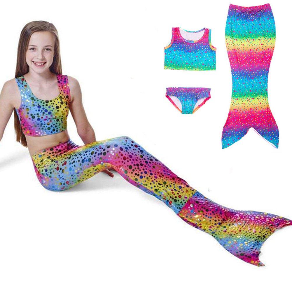 CYNDIE Traje de baño de la cola de la sirena del arco iris de los niños 3 PC Fije el traje de baño del bikini de las muchachas con la cola de la sirena