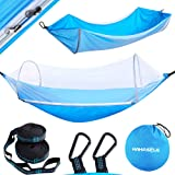 HAHASOLE Camping Hammock with Mosquito Net - Includes Tree Straps & Carabiners - Ripstop Nylon Lightweight & Portable…
