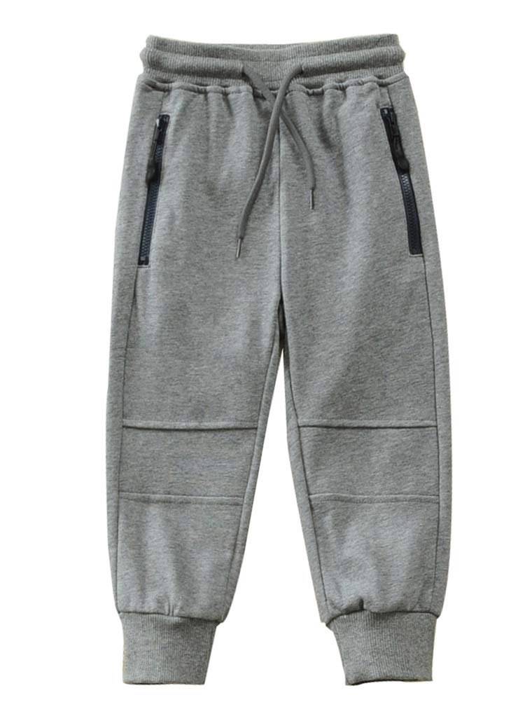 Mallimoda Boy's Knit Cotton Sweatpants Casual Sport Drawstring Waist Trousers Style 3 Grey 11-12 Years