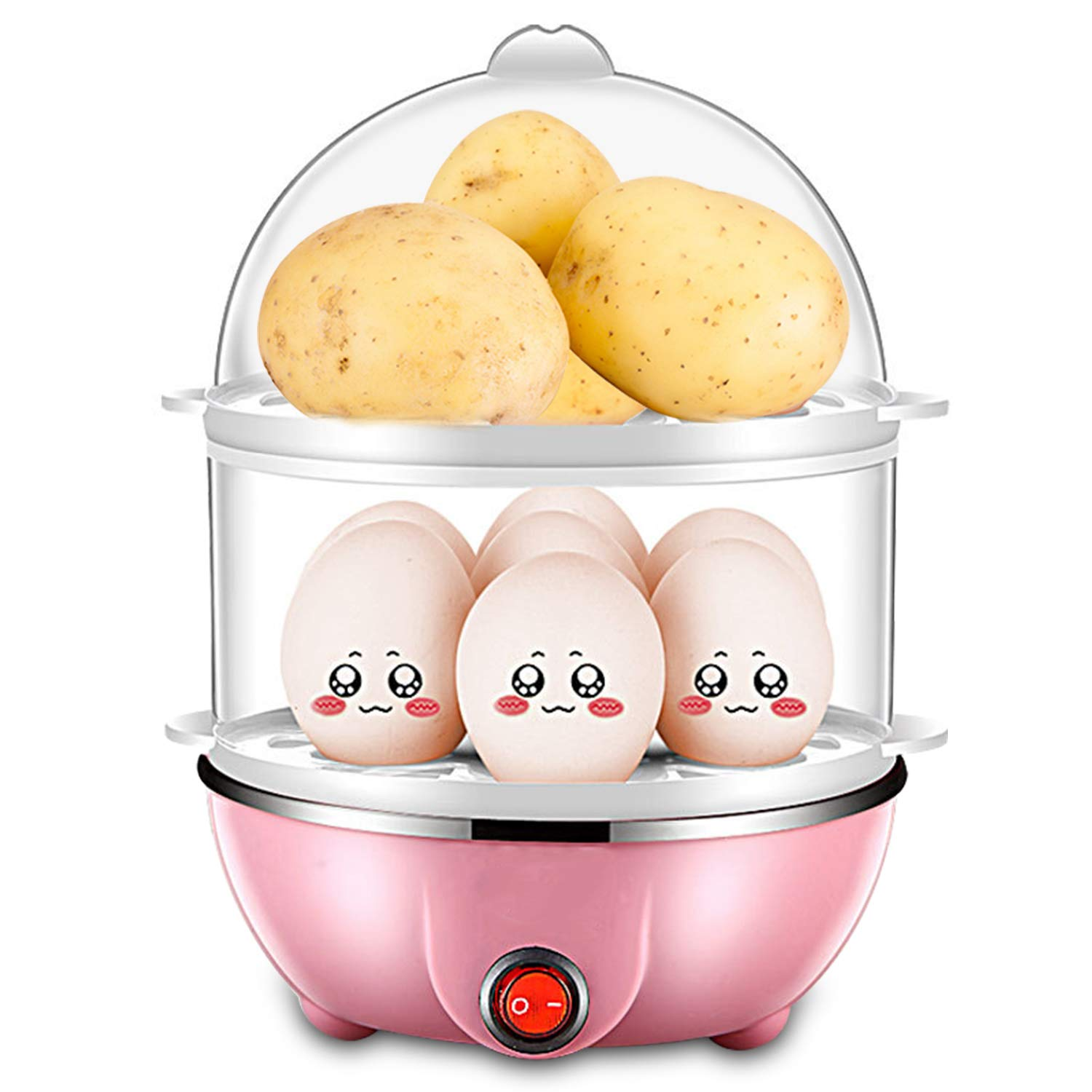 Egg Cooker,Intelligent Egg Steamer with Measuring Cup and Multifunctional Dual Layer,DUODUOGO Egg Maker to Poach Eggs, Omelet and Steam Foods with Auto Shut Off.7 or 14 Eggs Capacity-Pink