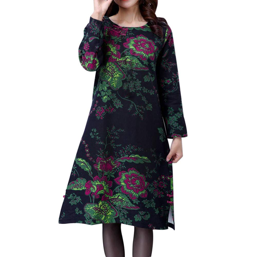 Bodycon Dresses for Women with Sleeves,Fashion Women Plus Size Folk-Custom Loose Floral Printed Cotton and Linen Dress,Jumpsuits, Rompers & Overalls,Navy,XXL