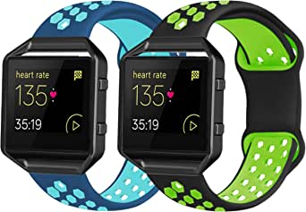 2 Pack Bands Compatible with Fitbit Blaze with Black Frame for Men Women, Soft Silicone Breathable Replacement Sport Accessory Strap Wristband for Blaze Smart Fitness Watch