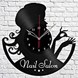 Nail Salon Vinyl Record Wall Clock Fan Art Handmade Decor Original Gift Unique Decorative Vinyl Clock 12″ (30 cm)
