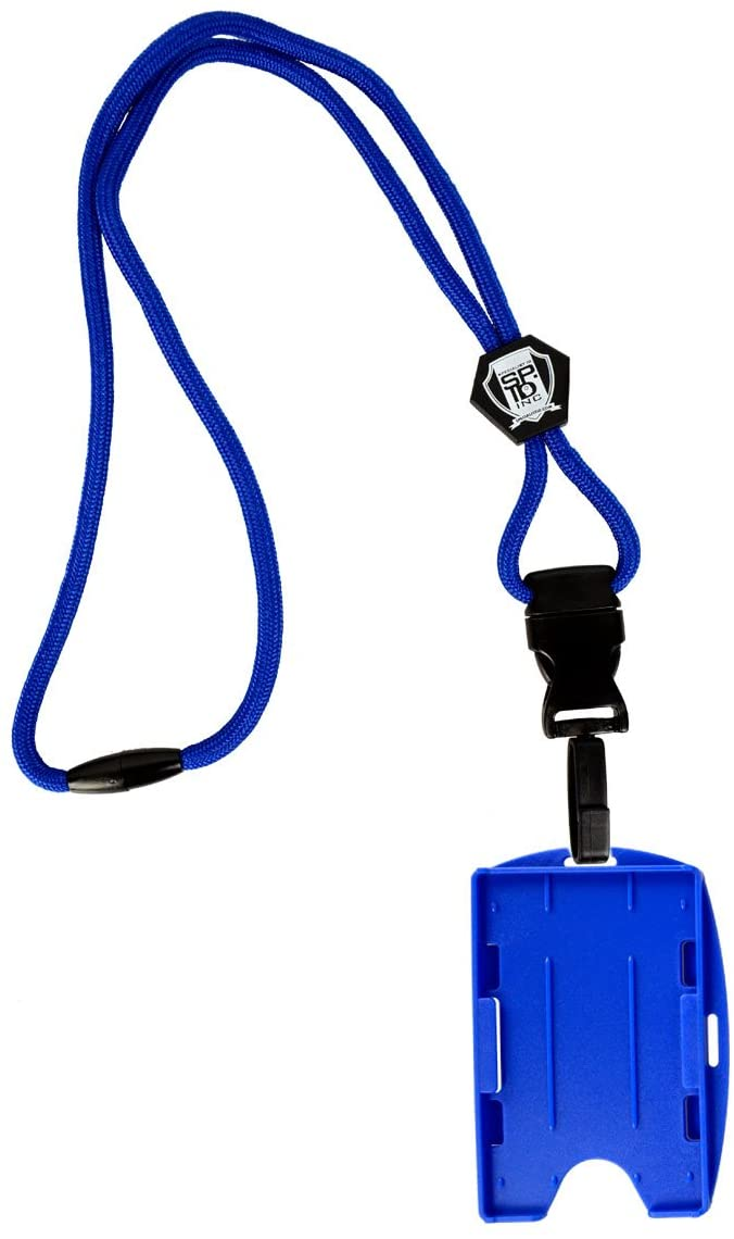 Metal Detector Friendly by Specialist ID Heavy Duty Royal Blue Lanyard with Detachable Quick Release 2-Card Hard Plastic ID Badge Holder