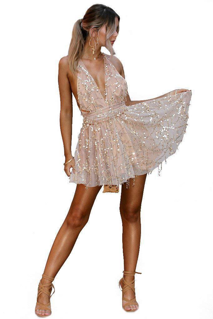 Sijux Frauen Pailletten Tiefem V-Ausschnitt Sexy Kleider Frauen Backless Halter Schwarz Gold Mini Kleid Party Quaste Sommerkleid Club Wear