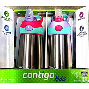 Contigo Kids 2 PK Flip Chill Bottle Stainless Steel, Autospout Water Bottles
