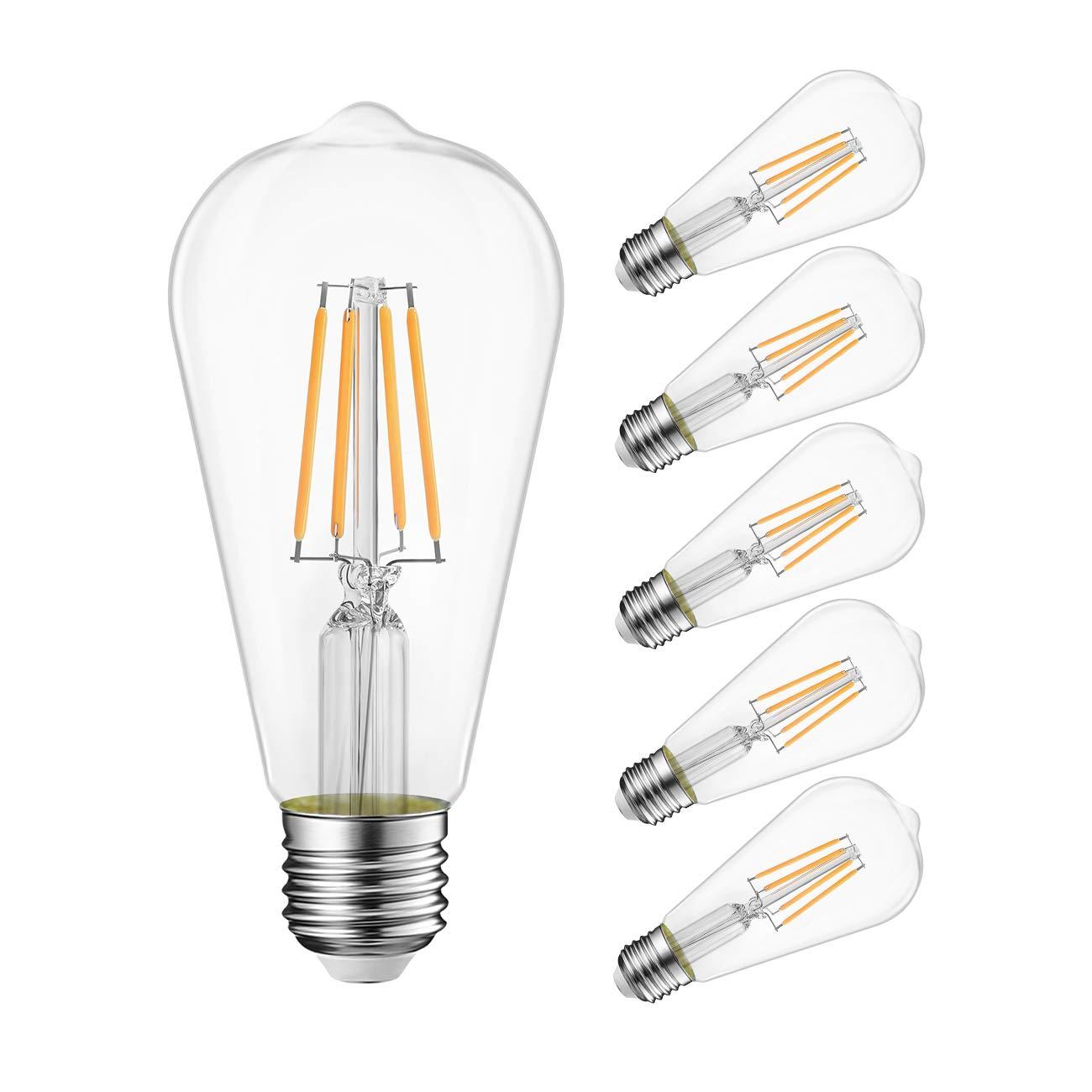 LVWIT ST21 LED Filament Bulb 8W(60 Watt Equivalent) Dimmable 3000K Soft White Vintage Edison Light Bulb E26 Medium Base (6-Pack) (8W- Soft White)